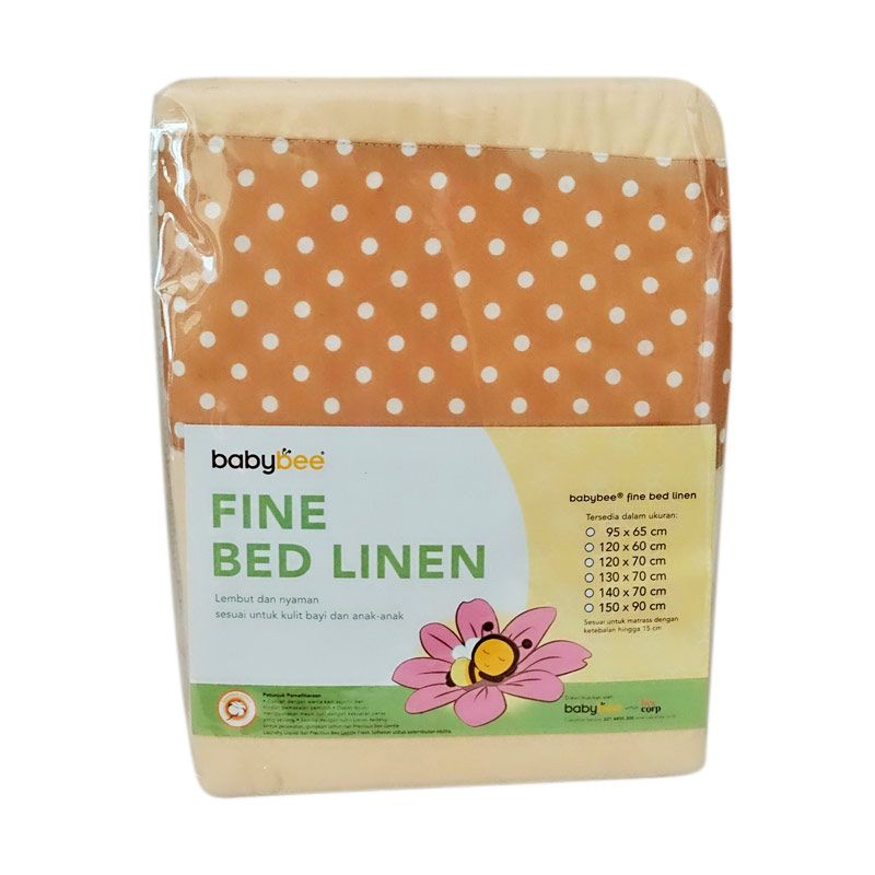 Babybee Fitted Sheet Polkadot cream Sprei [150 x 90 cm]