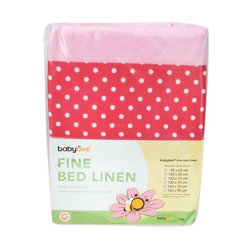 Babybee Fitted Sheet Polkadot Pink Sprei [130 x 70 cm]