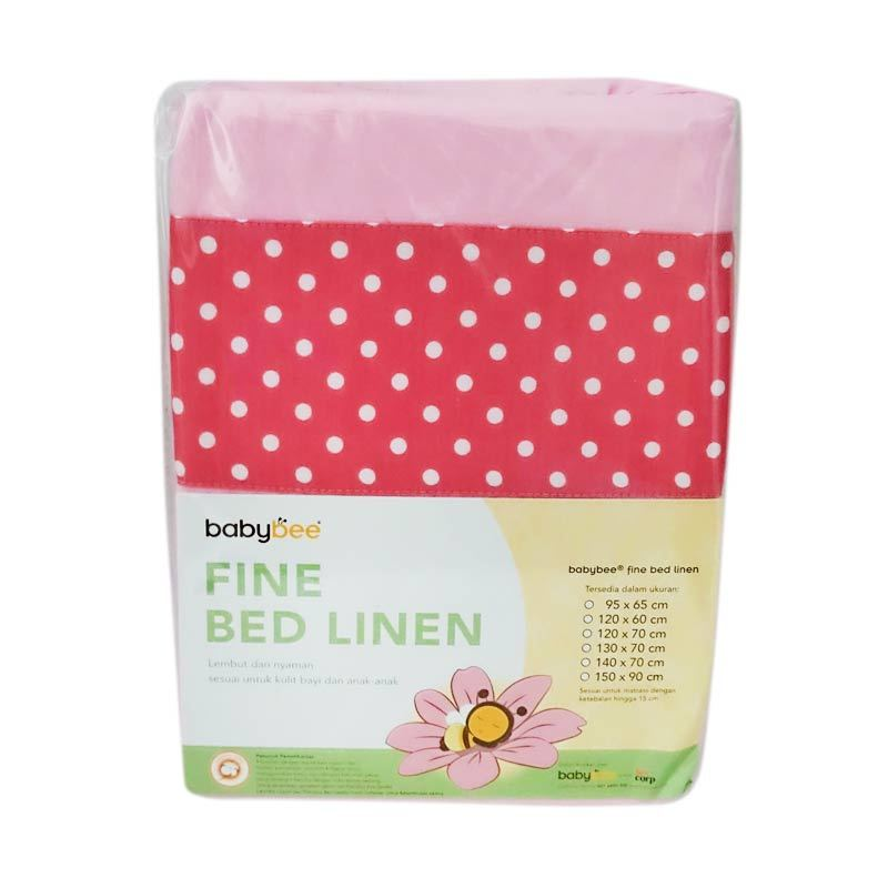 Babybee Fitted Sheet Polkadot Pink Sprei [95 x 65 cm]