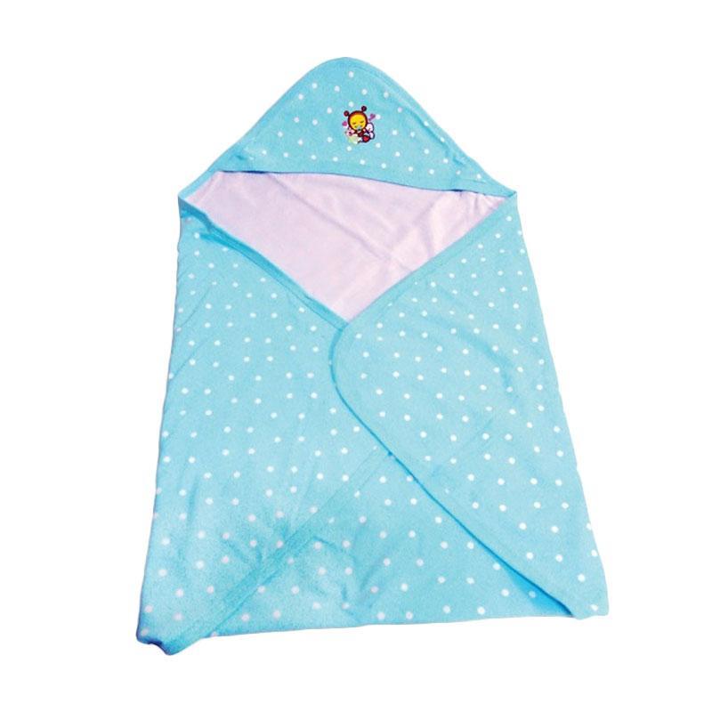 harga Babybee Fluffy Hooded Blanket Selimut Bayi - Polka Aqua Blue Blibli.com