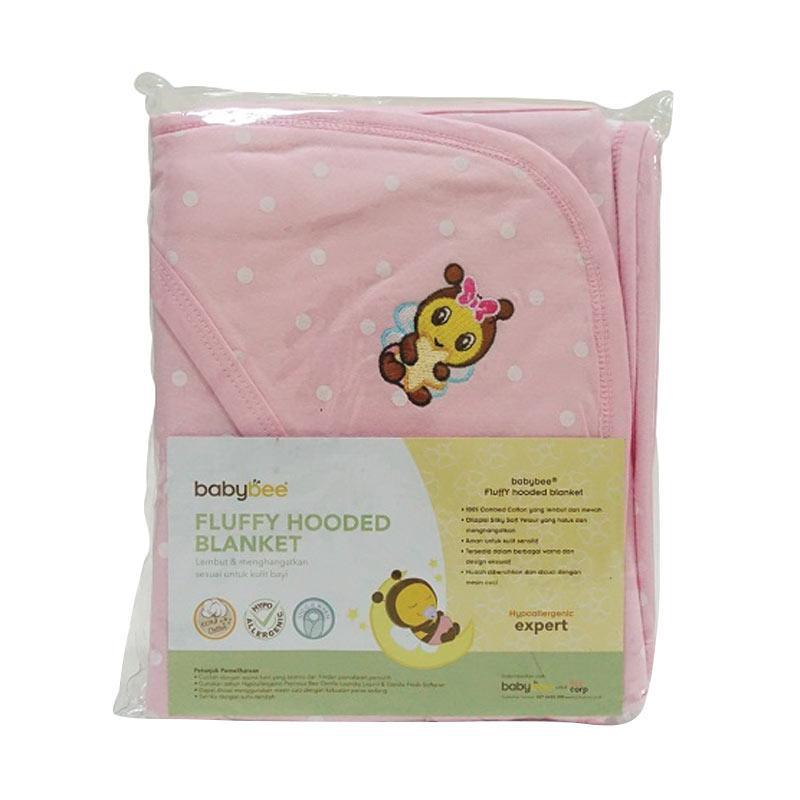 Babybee Fluffy Hooded Blanket Selimut Bayi - Polka Pink Blossom