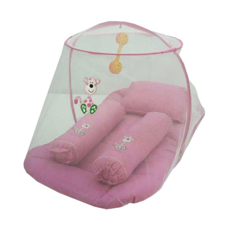 Baby Hai Bordir Giraffe Pink Tua Kasur Kelambu