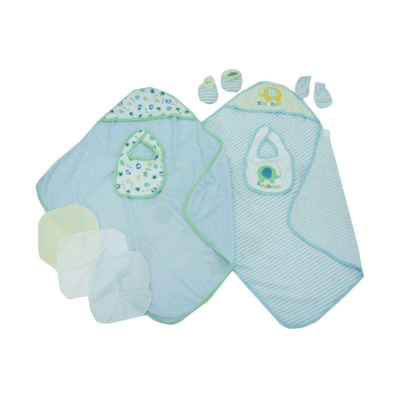 Babylonish 10 in 1 Baby Set Jala Luar Elephant Blue Selimut Bayi