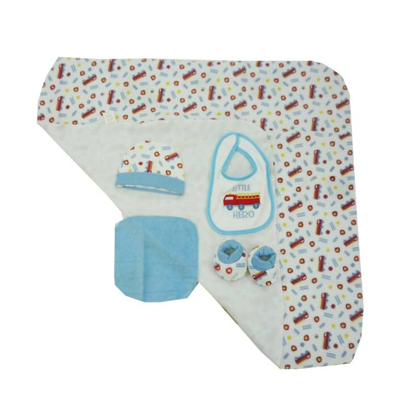 Babylonish 6 in 1 Baby Set Jala Luar Little Hero Blue Selimut Bayi