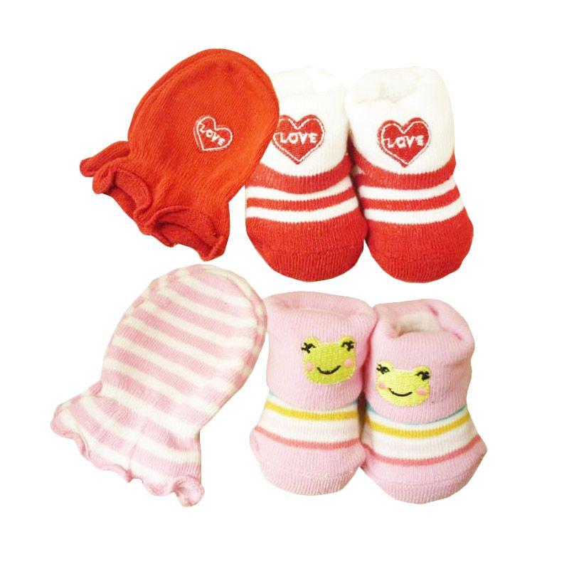 Babylonish KKT Love Merah Keroppi Pink Set Kaos Kaki
