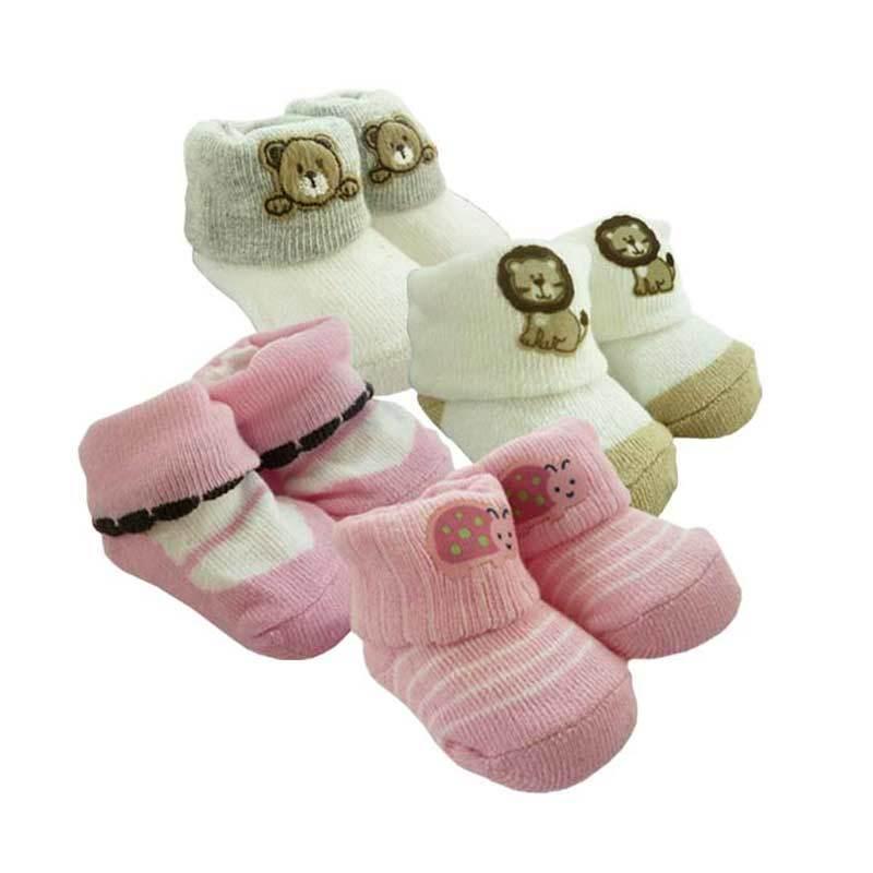 Babylonish Kura Bear Lion KK 2's Pink Putih Kaos Kaki Bayi