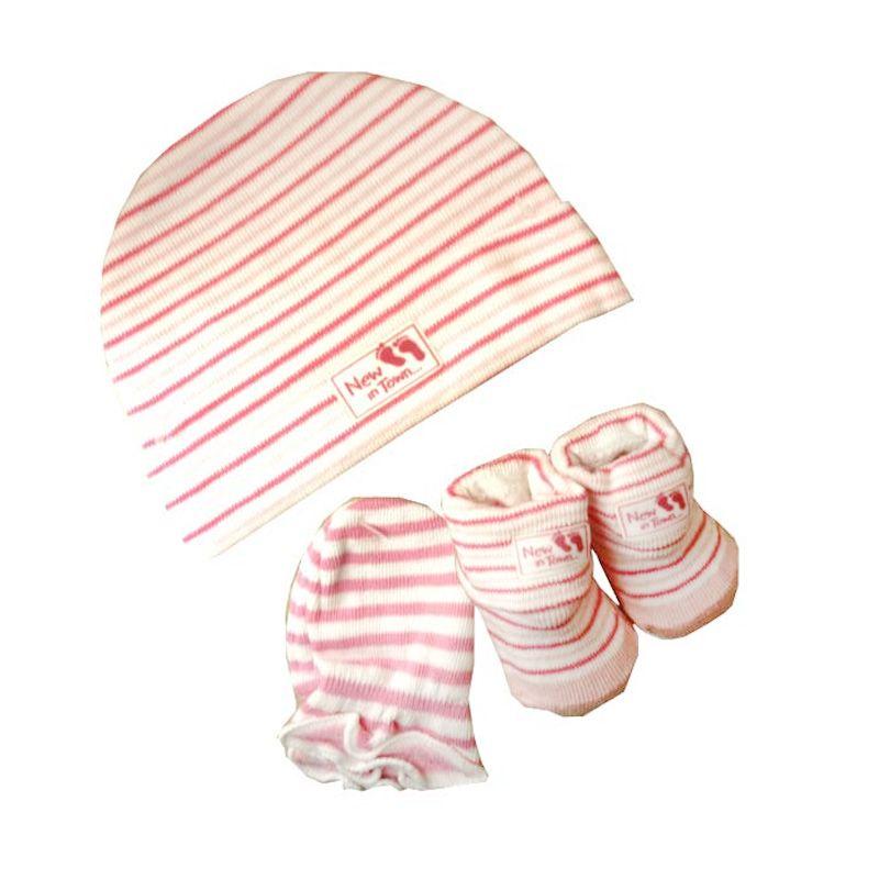 Babylonish Topi Set New In Town Pink Perlengkapan Bayi