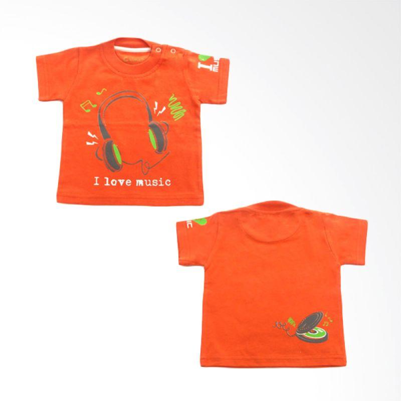 Calmet Kaos Kreatif Pendek I Love Music Orange