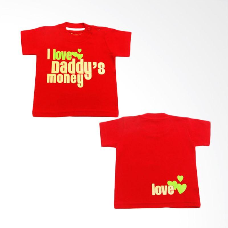 Calmet Kaos Kreatif Pendek I Love Daddy's Money Merah
