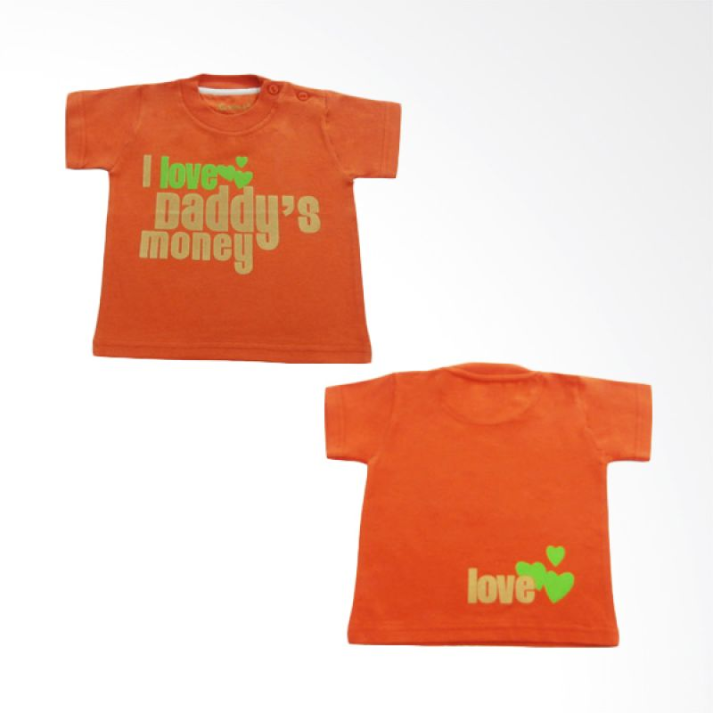 Calmet Kaos Kreatif Pendek I Love Daddy's Money Orange