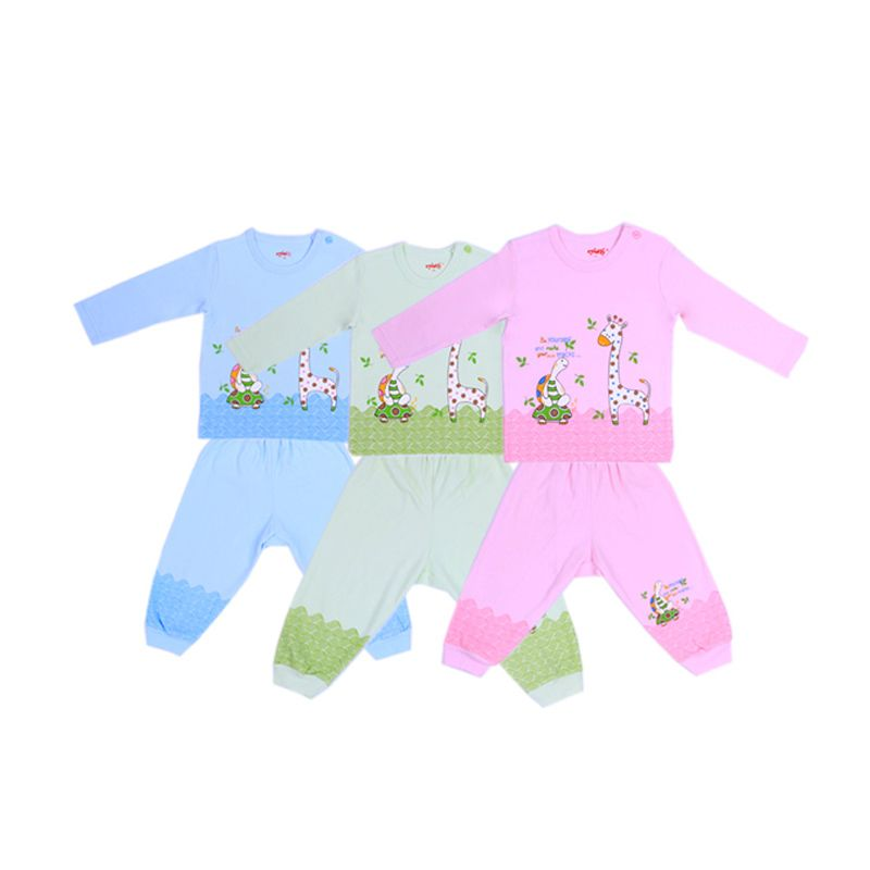 Costly Be Yourself Panjang Kaos Oblong dan Celana Rip Setelan Bayi [Biru or Hijau or Pink]