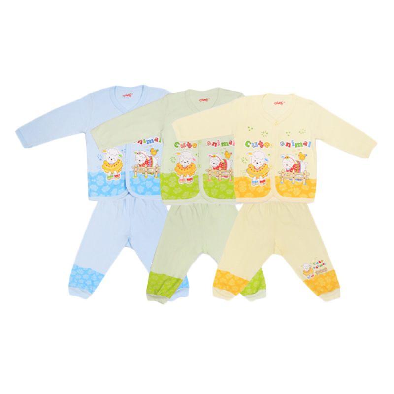 Costly Cute Animal Kaos dan Celana Rip Rip Biru Hijau Kuning Setelan Bayi