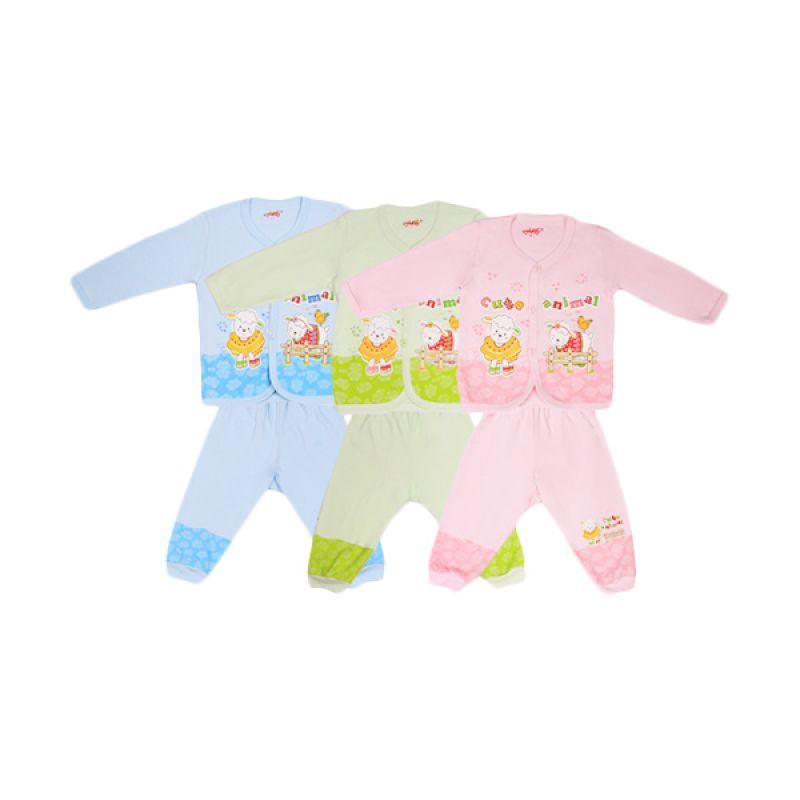 Costly Cute Animal Kaos dan Celana Rip Biru Hijau Pink Setelan Bayi