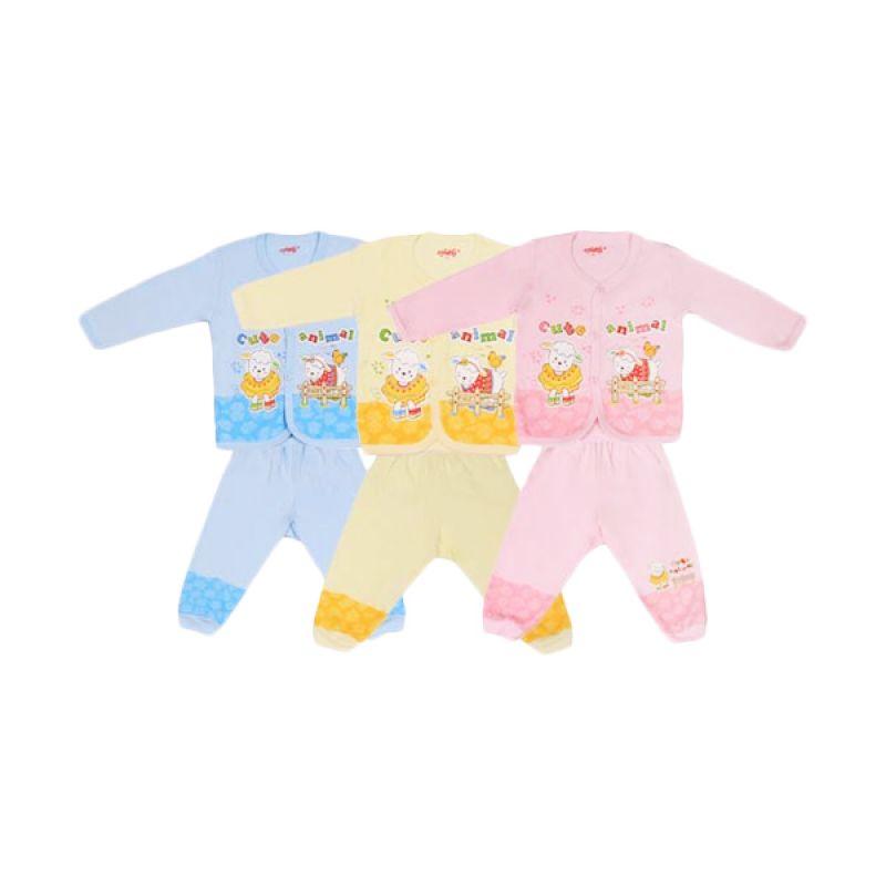 Costly Cute Animal Kaos dan Celana Rip Biru Kuning Pink Setelan Bayi
