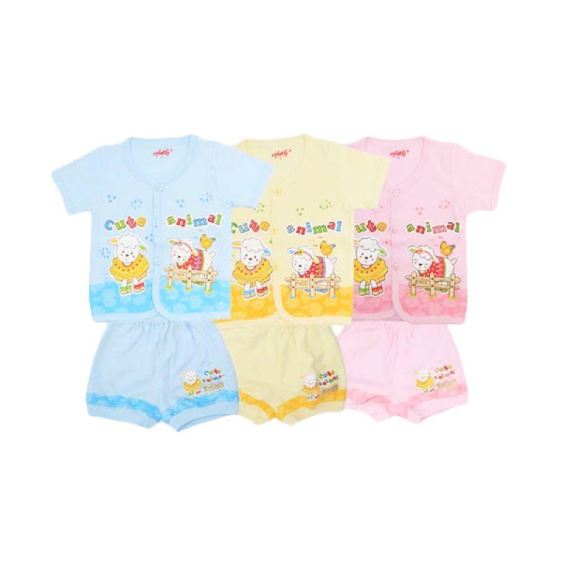 Costly Cute Animal Kaos dan Celana SG4 Rip Biru Kuning Pink Setelan Bayi