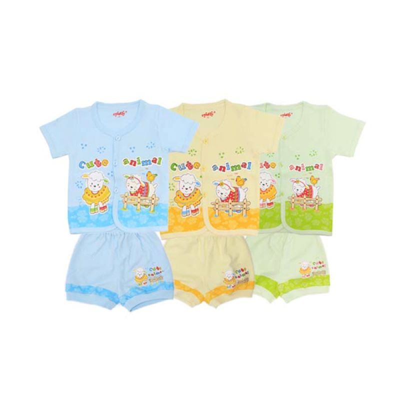 Costly K SG4 Rip Cute Animal Multicolor Setelan Bayi [Biru/Kuning/Hijau]