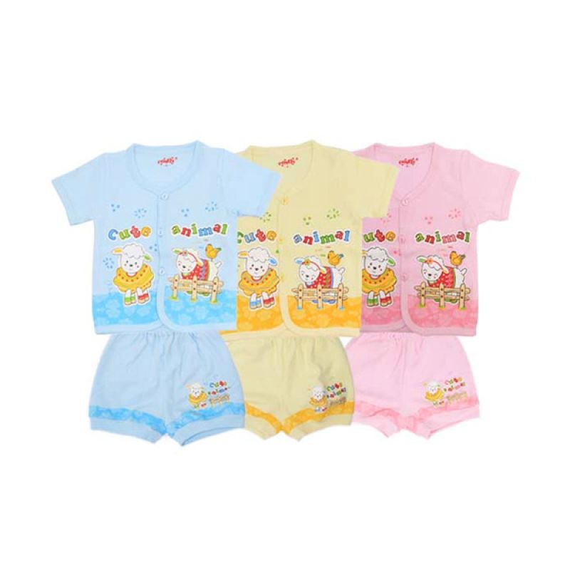 Costly K SG4 Rip Cute Animal Multicolor Setelan Bayi [Biru/Kuning/Pink]