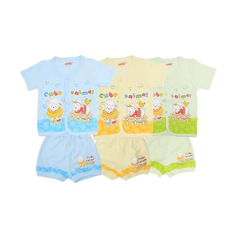 Costly Rip Cute Animal SG4 Multicolor Setelan Bayi [Biru/Kuning/Hijau]