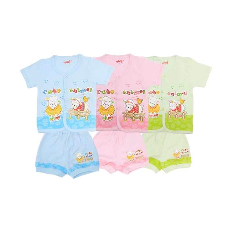 Costly Rip Cute Animal SG4 Multicolor Setelan Bayi [Biru/Pink/Hijau]