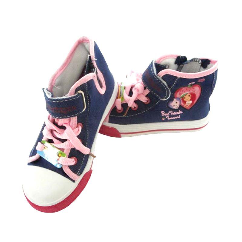 Disney Canvas Highcut Lam Strawberry Black Sepatu Anak Perempuan