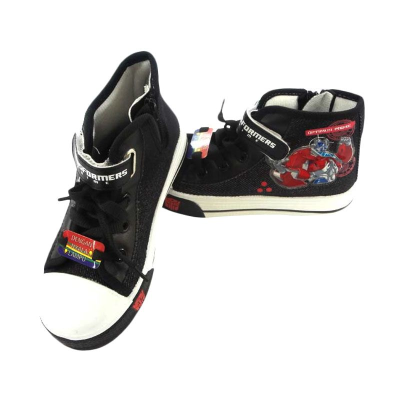 Disney Canvas Highcut Lam Transformer Black Sepatu Anak Laki-laki