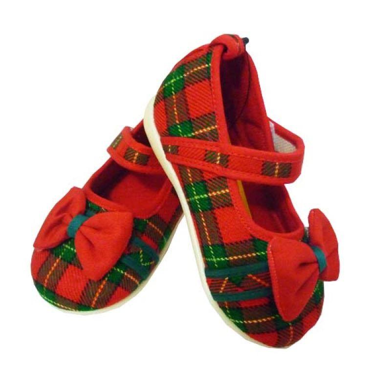 Lalita Tartan Red Sepatu Anak