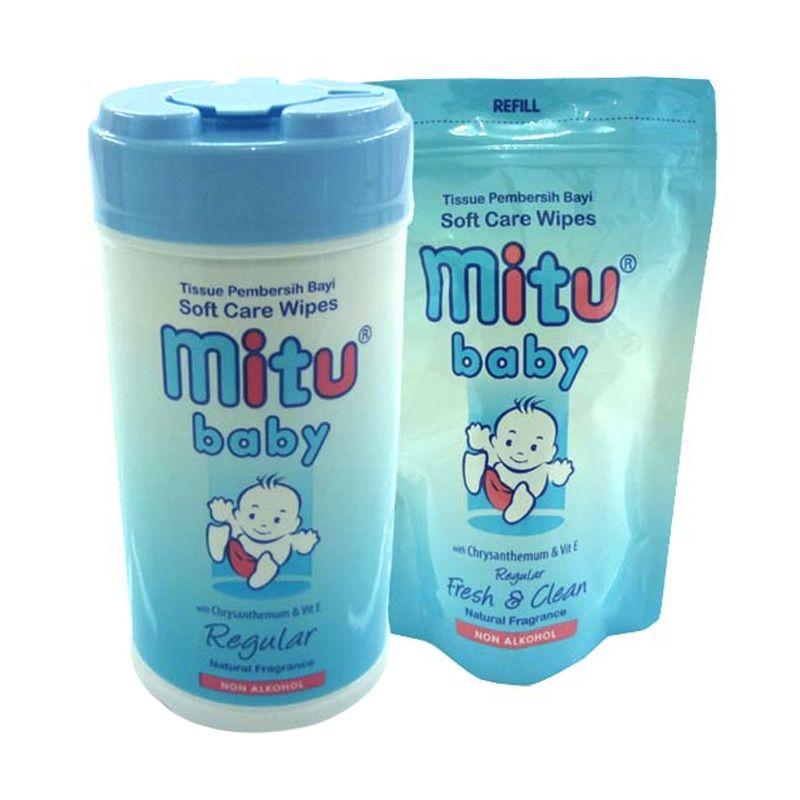 Mitu Baby Bottle Blue Tisu Basah + Refill