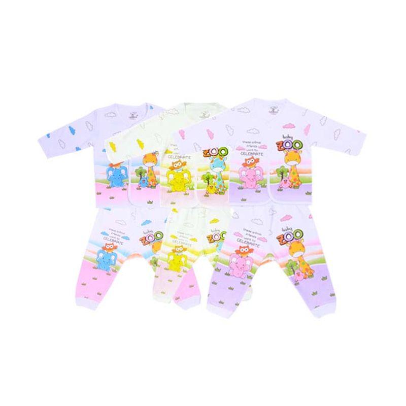 Tatami Baby Zoo Panjang Kaos dan Celana Rip Setelan Bayi [Biru or Kuning or Pink ]