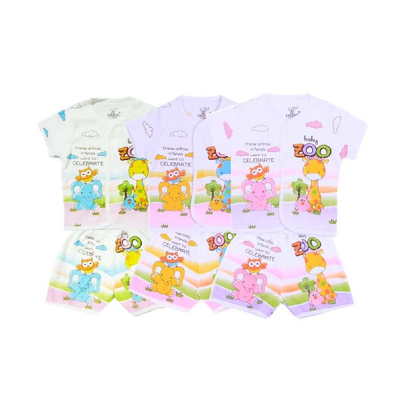 Tatami Baby Zoo Pendek Kaos dan Celana SG4 Rip Setelan Bayi [Biru or Kuning or Pink]