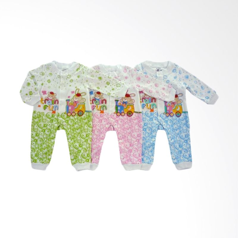 Tatami Hansop Rip Train Fun Multicolor Jumpsuit Bayi [Hijau/Kuning/Biru/3 Pcs]