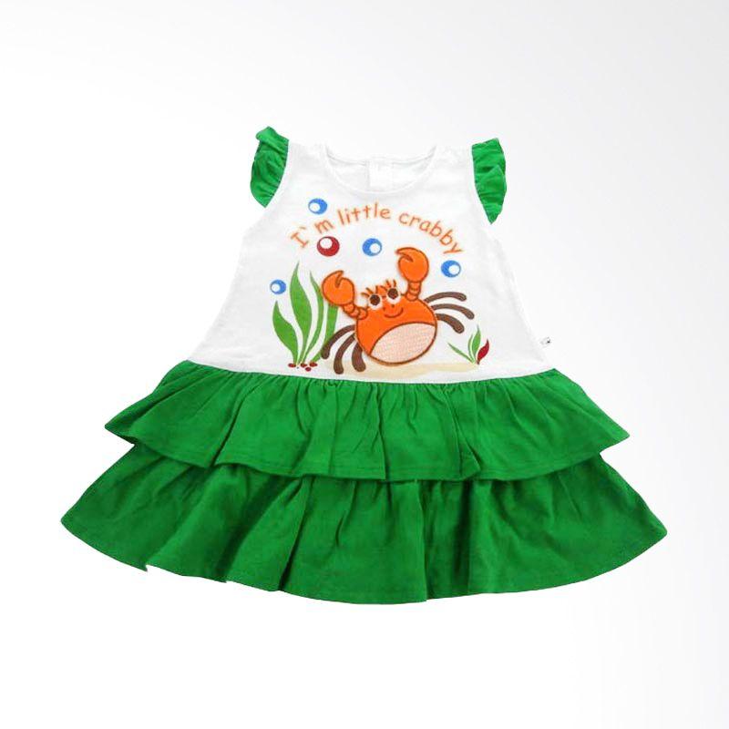 Tatami Rok A-line susun I'm LIttle Craby - Hijau