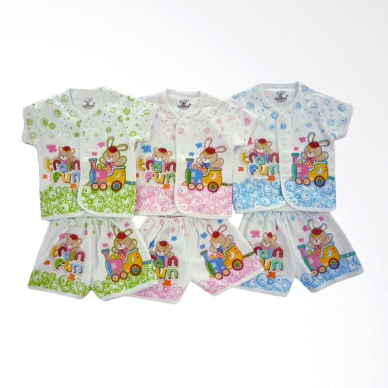 Tatami SG4 Train Fun 2 Multicolor Setelan Bayi [Hijau/Pink/Biru/3 Pcs]