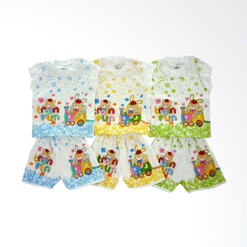 Tatami SG4 Train Fun Multicolor Setelan Bayi [Biru/Kuning/Hijau/3 Pcs]