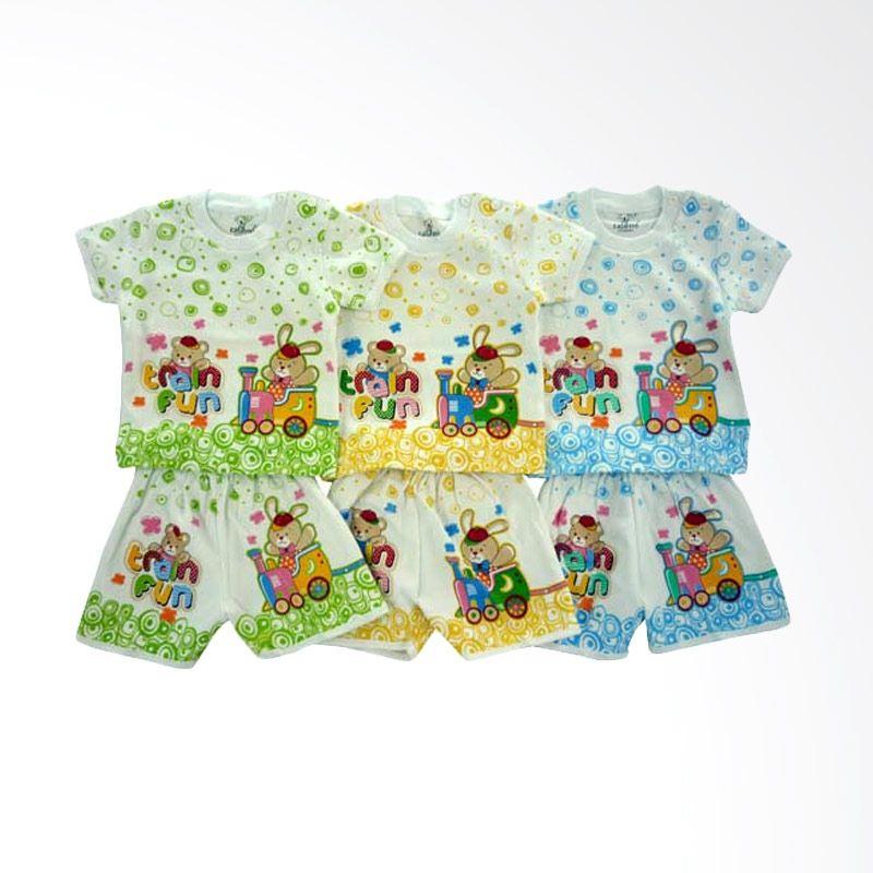 Tatami SG4 Train Fun Multicolor Setelan Bayi [Hijau/Kuning/Biru/3 Pcs]