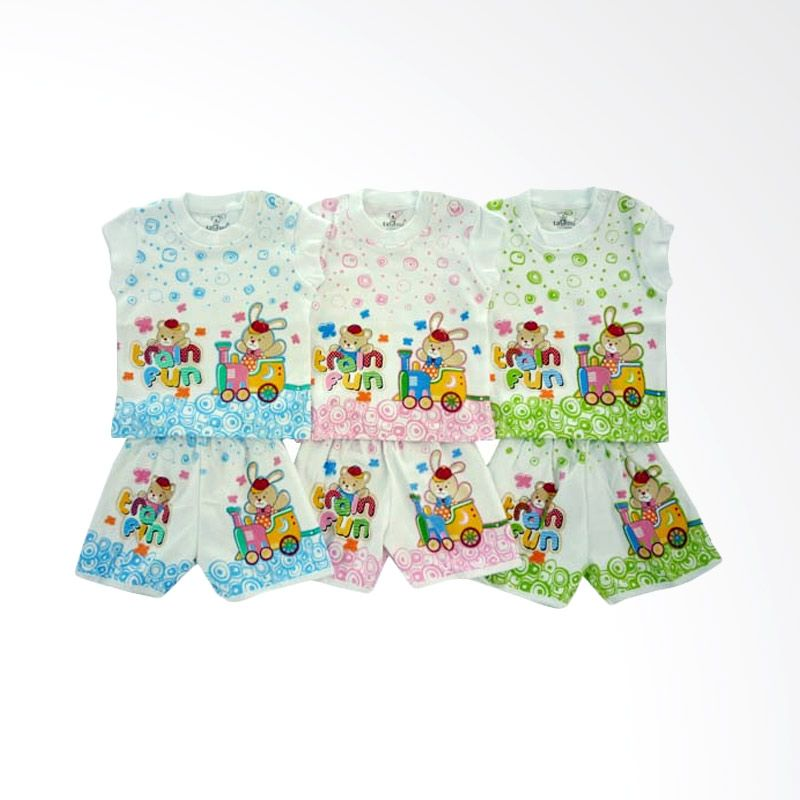Tatami SG4 Train Fun Multicolor Setelan Bayi [Hijau/Pink/Biru/3 Pcs]