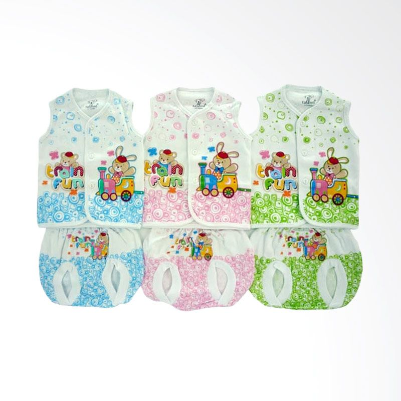 Tatami OO Train Fun Multicolor Setelan Bayi [Biru/Pink/Hijau/3 Pcs]