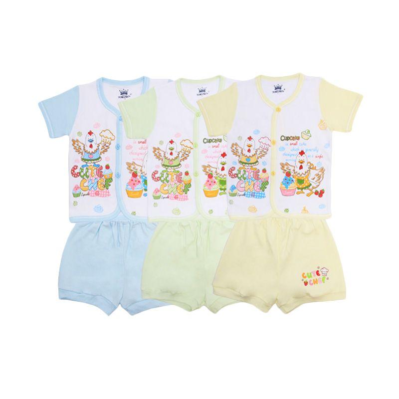 Tokusen Cute Chef Kaos Pendek dan Celana SG4 Rip Set Setelan Bayi [Biru/Hijau/Kuning]