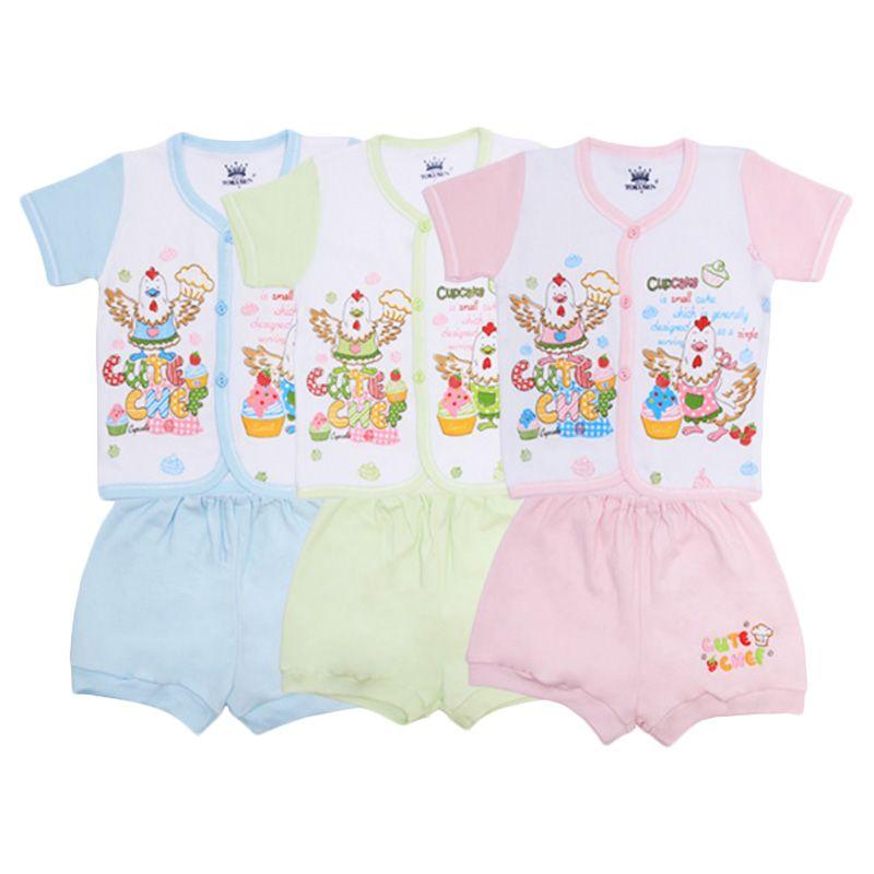Tokusen Cute Chef Kaos Pendek dan Celana SG4 Rip Set Setelan Bayi [Biru/Hijau/Pink]