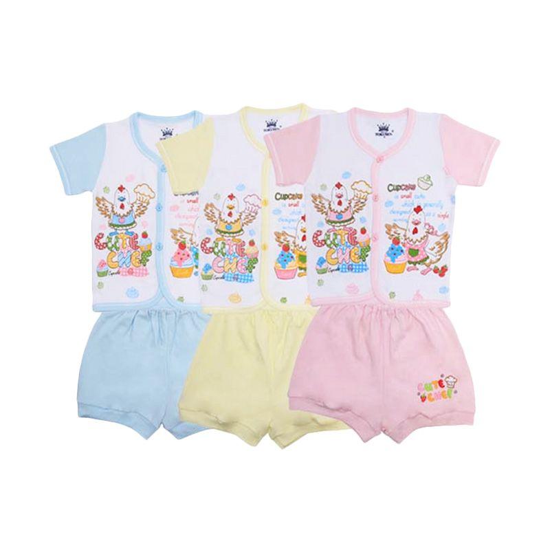 Tokusen Cute Chef Kaos Pendek dan Celana SG4 Rip Set Setelan Bayi [Biru/Kuning/Pink]