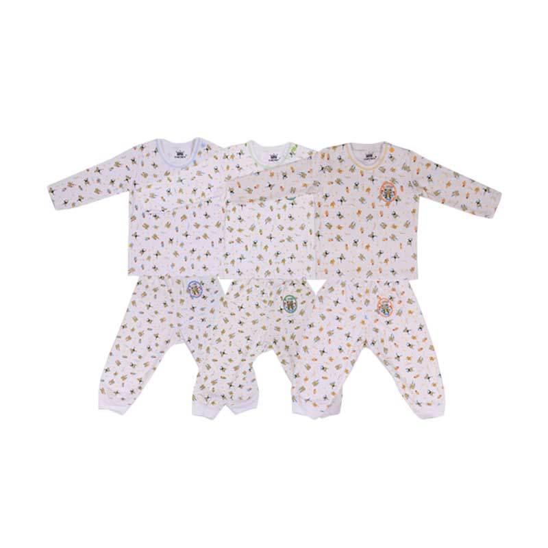 Tokusen Frogy Biru Hijau Kuning Kaos Oblong Panjang dan Celana Panjang Rip [Setelan Bayi]
