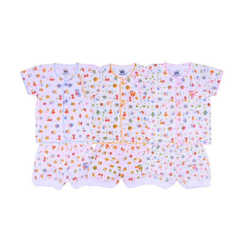 Tokusen Funny Snail K SG4 Multicolor Setelan Bayi [Biru/Kuning/Pink]