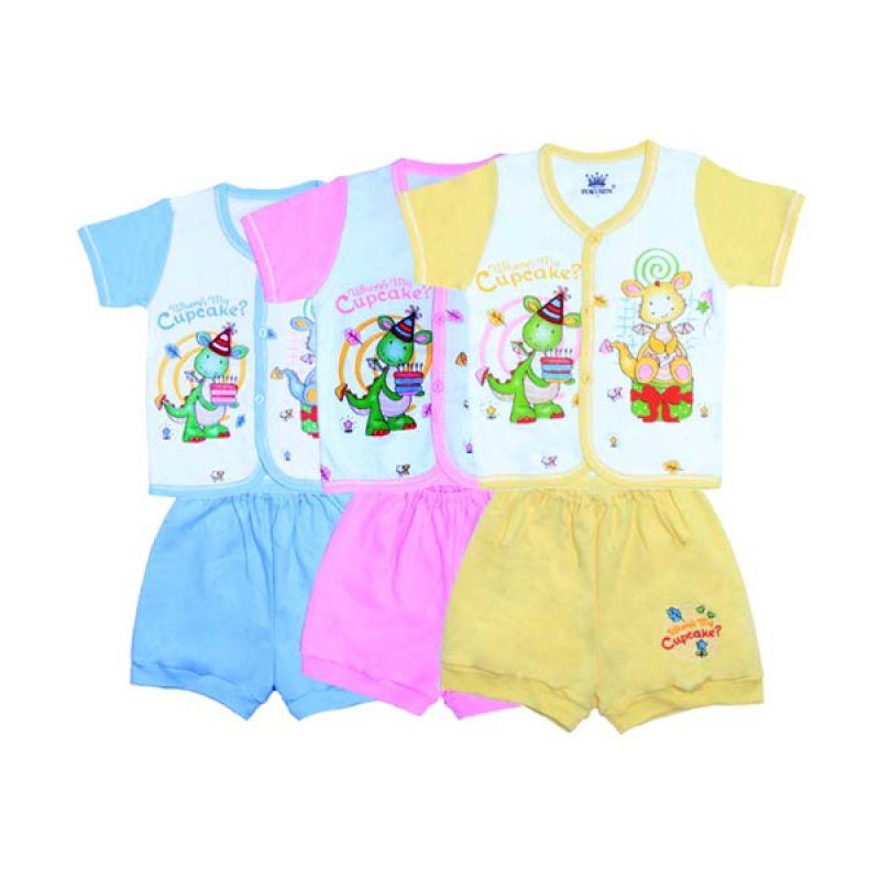 Tokusen K SG4 Rip Where's My Cupcake Multicolor Setelan Bayi [Biru/Pink/Kuning]