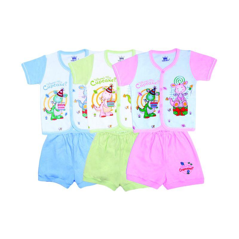 Tokusen Rip Where's My Cupcake SG4 Multicolor Setelan Bayi [Biru/Hijau/Pink]