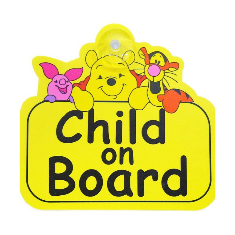 AmanBayiKu Baby on Board Car Sign Winnie The Pooh Yellow Aksesoris Kaca Mobil