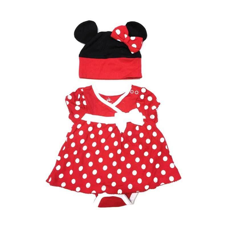 Disney Minnie Mouse Bodysuit and Hat Setelan Bayi