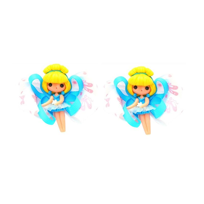 Emily Labels Balerina Blue Yellow Clips Jepit Rambut [2 pack]