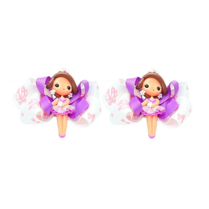 Emily Labels Balerina Purple and Dark Brown Clips Jepit Rambut [2 pack]