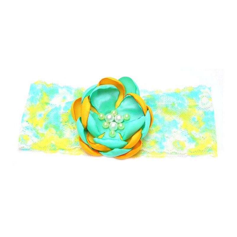 Emily Labels Flower Green Yellow Headband Bando