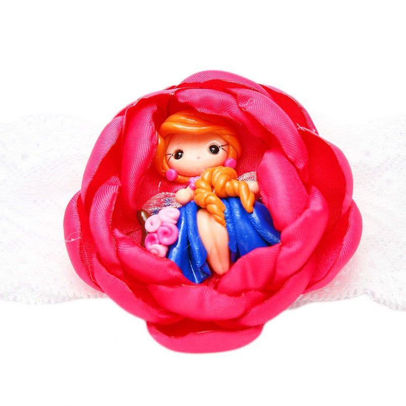 Emily Labels Flower with Fairy Fuschia Headband Bando
