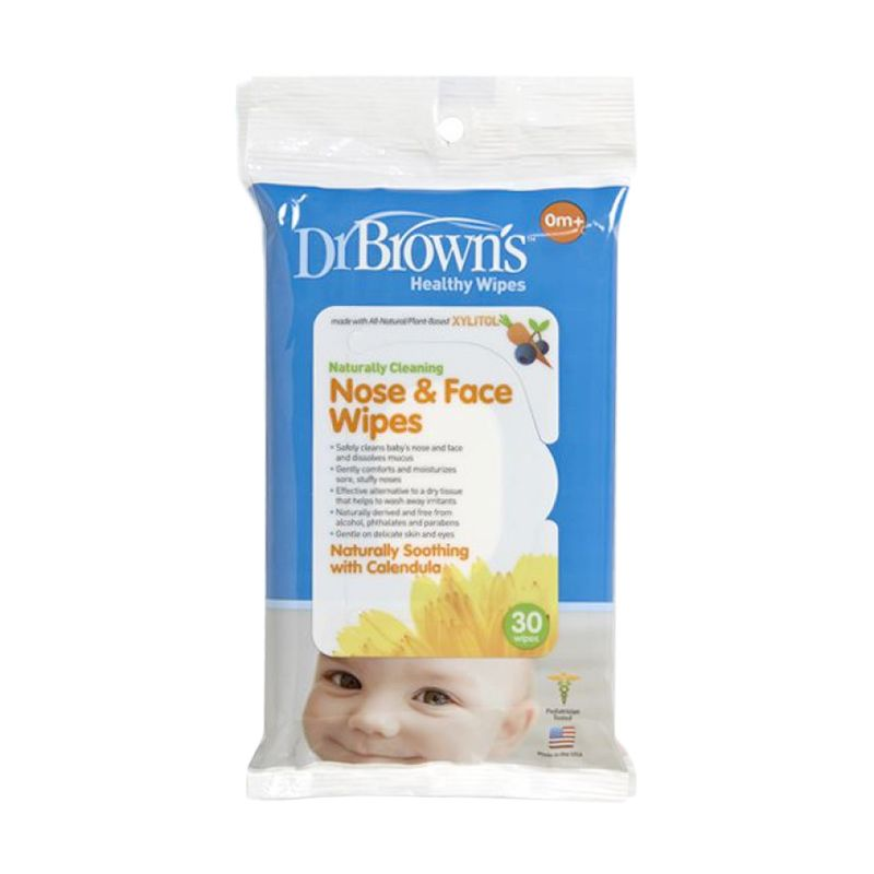 Dr. Brown's Healty Wipes Naturally Cleaning Nose & Face Tissue Basah [30 Sheet]